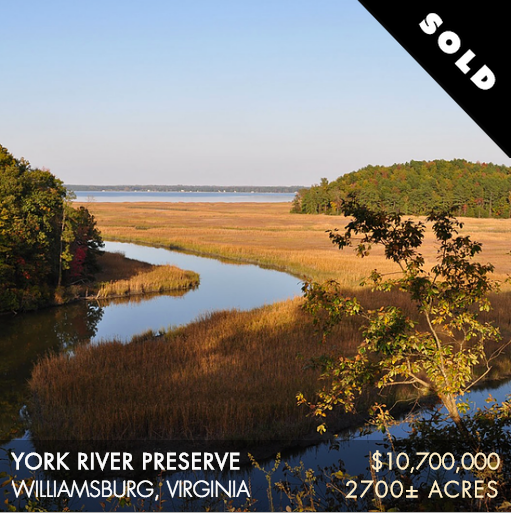 "The 2,700± acre York River Preserve (""YRP"") is located approximately 20 minutes northeast of the historic city of Williamsburg along the western shore of the York River and 25 miles upstream from the river's confluence with the Chesapeake Bay. The York fronts the property for over 3.5 miles and offers boating access and expansive views eastward for nearly 2 miles across open water. YRP is buffered by Ware Creek and Philbates Creek, which are intimate, meandering tidal streams originating west of the property, and a vast, intact saltwater marsh complex that offers waterfowl hunting, fishing, and other water-based activities."