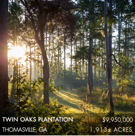 "Twin Oaks Plantation is a 1,913± acre historic plantation located just five minutes from downtown Thomasville in the Red Hills plantation belt with this being the first time this land has been available for purchase since the late 1800's. It is surrounded by many exceptional plantations including Melrose, Longpine, Pebble Hill, Sinkola, and Beverly. These are some of the original plantation lands purchased by the Chapin-Hannas in 1891. Over 150,000 acres of plantations in the Red Hills can be traced back to the Hanna family's influence on their friends, family, and business associates who shared a passion for the recreation these southern properties offered. he landscape is rolling with two-thirds in upland pines, along with the ""Big Hammock"", a gorgeous bottomland forest."