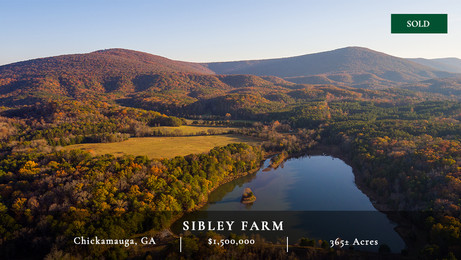 Sibley Farm is a 365± acre pastoral landscape in the heart of McLemore Cove.  It is a quintessential Cove farm with spectacular views and gradual rolling hills.  Highlighted features include an 18± acre lake, Voiles Creek, and the fact that it shares a significant boundary line with Pigeon Mountain, which insures a protected view shed.  Located only 35 minutes from downtown Chattanooga, Sibley Farm is a special rural retreat.