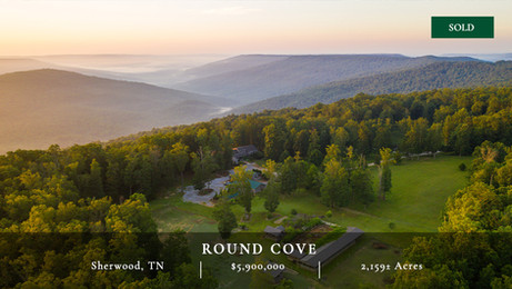 Situated on the northern side of the Tennessee-Alabama state line, Round Cove is a stunning 2,192± acres on the Cumberland Plateau near the town of Winchester, Tennessee. The property boasts an exceptionally well built main home with amazing Appalachia views overlooking the valley below known as Round Cove.