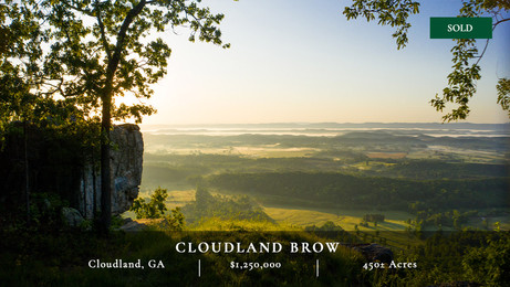 Cloudland Brow is a 450± acre mountain retreat with an entire mile of exceptional brow frontage located on Lookout Mountain in North Georgia.  Part of Chattooga County, Cloudland Brow rests 2 miles from the Georgia-Alabama state line.  The property consists primarily of hardwood forests with a very gentle and relatively flat topography along the eastern brow.