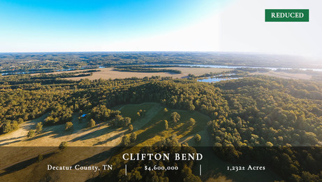 Located on the bank of the Tennessee River in Decatur County, Clifton Bend is a richly diverse landscape consisting of 1,232± acres.