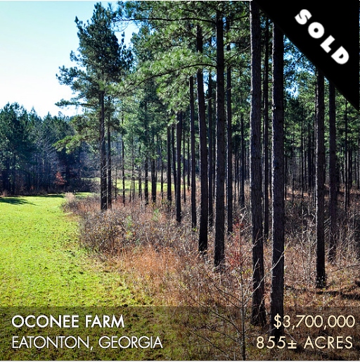 Oconee Farm is a spectacular property located only 75 minutes southeast of downtown Atlanta near the town of Eatonton. This 855± acres has a diverse landscape offering a number of quality hunting, fishing, and outdoor opportunities. It boasts fantastic whitetail deer and turkey hunting, and the land has been managed in a manner that supports a quality quail program. Built in 2006, there is a three-bedroom house with an open floor plan serving as the perfect farm retreat as well as a charming two-bedroom guesthouse for entertaining. The farm includes a nice section of Glady Creek and a three-acre lake. Oconee Farm's location offers an extraordinary convenience to the surrounding area's amenities.