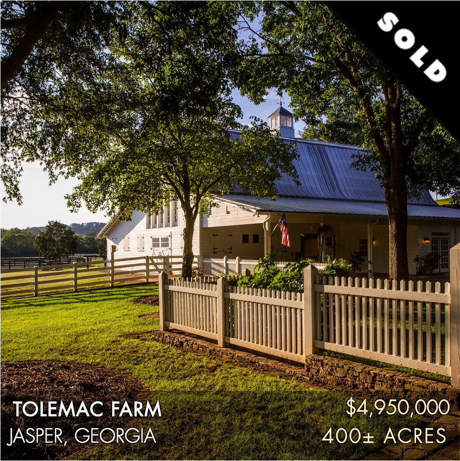 Tolemac Farm is a legacy property located just one hour north of Atlanta near Jasper, GA where the Blue Ridge Mountains start. Comprised of 401± acres, this property serves as a premier family or corporate retreat. Tolemac's grounds have been impeccably cared for and offer a mature, diverse landscape not commonly found. The improvements are immaculately maintained and include a spectacular main home and horse stables with living space that showcase the charm of Southern architecture. The outdoor recreational opportunity is immense and engages all generations of a family. The farm has 120± acres of well-maintained fields with excellent water resources that include a four-acre lake and Scarecorn Creek.