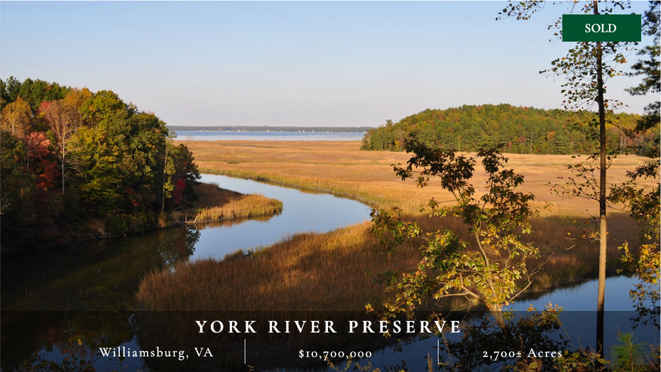 Unique 2,700± acre property 15 minutes from Williamsburg and 45 minutes from Richmond consisting of cropland, hardwood and pine forests, salt and fresh water marshes, extensive frontage on the York River, and many recreational opportunities.