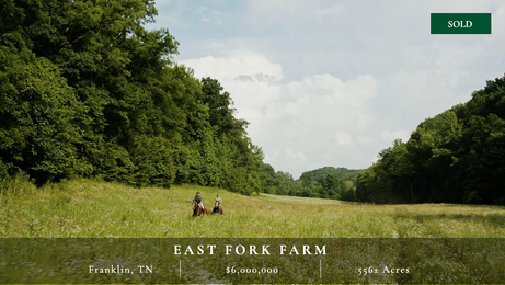Gorgeous 556± acre farm in Franklin, TN.  Rolling hills, mature hardwoods, green pastures, and babbling creeks.  Tons of recreational opportunities, from hunting and fishing to horseback riding and hiking.  Contiguous acreage can be purchased.