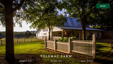 Gorgeous 397± acre recreational farm only one hour north of Atlanta.  Immaculate improvements including updated historical main home.  Strong equestrian and wildlife components.  Excellent topography with diverse landscape.  Four-acre lake.