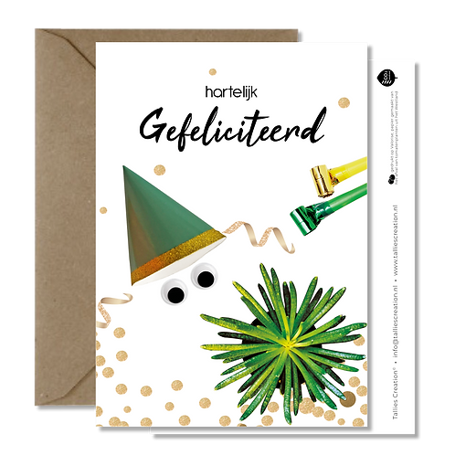 Gefeliciteerd feesthoed - Plant wenskaarten