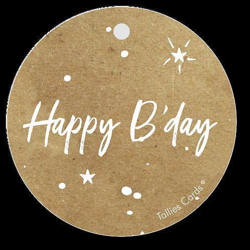 Happy B'day - Kraft Look a Like - set van 5 kaarten