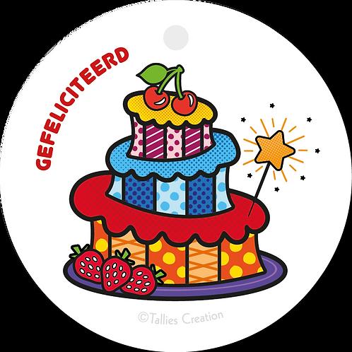 Gefeliciteerd taart - Popart - set van 5 kaarten