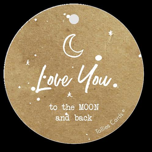 Love you 2 the moon and back - Kraft Look a Like - set van 5 kaarten