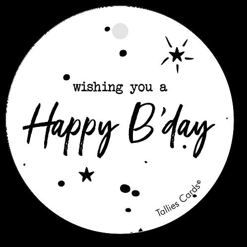 Wishing you a happy b'day - Black&White - set van 5 kaarten