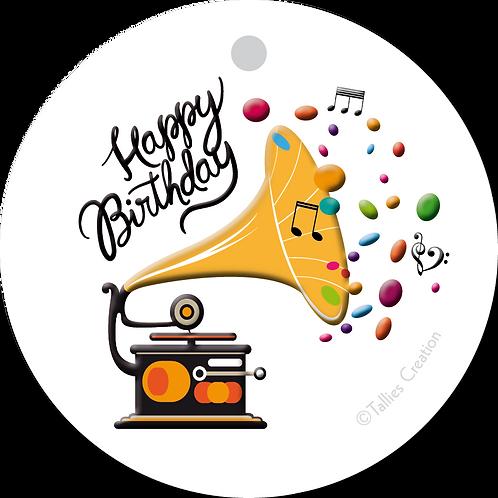 Happy Birthday platenspeler - Primo - set van 5 kaarten