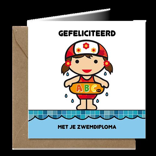 Zwemdiploma meisje - Primo wenskaarten