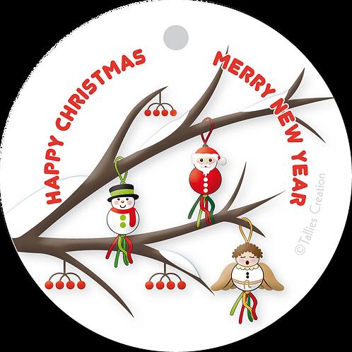 Happy Christmas merry new year - Primo - set van 5 kaarten