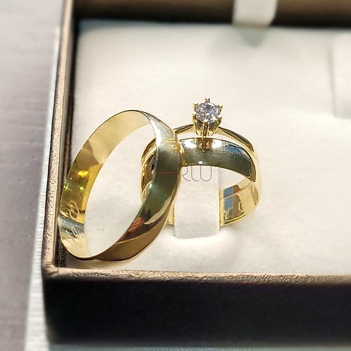 Par de Alianças de Casamento em Ouro 14K Tradicional 5 mm