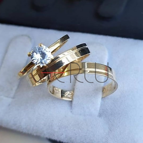 Par Alianças de Moeda com prata Trabalhada 3mm Friso Lateral