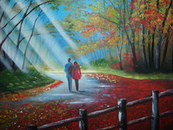 A stroll in the park, 23.5 x 19.5 not framed, oil on canvas, price 200