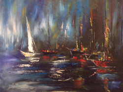Harbour nights, 19.5 x 15.5, oil on canvas not framed, price 150
