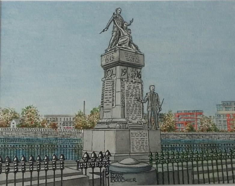 Frank Bouchier, 1916 Monument, Sarsfield Bridge, Watercolour
