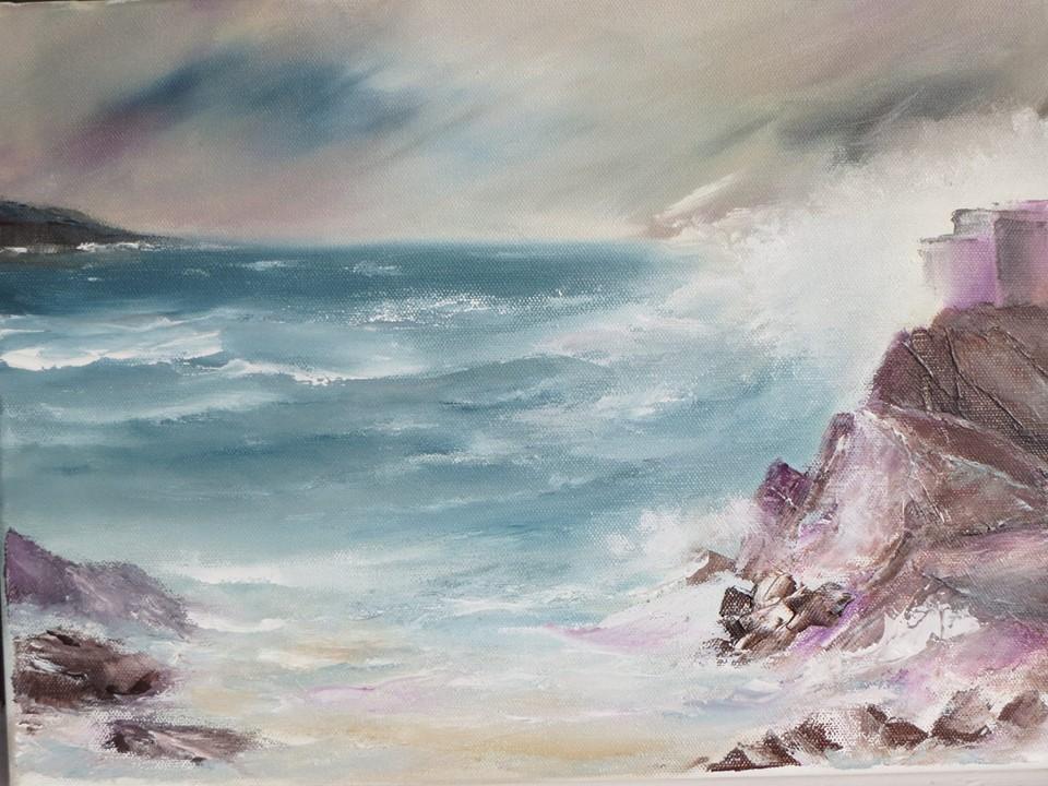 Crashing Waves. Oil
