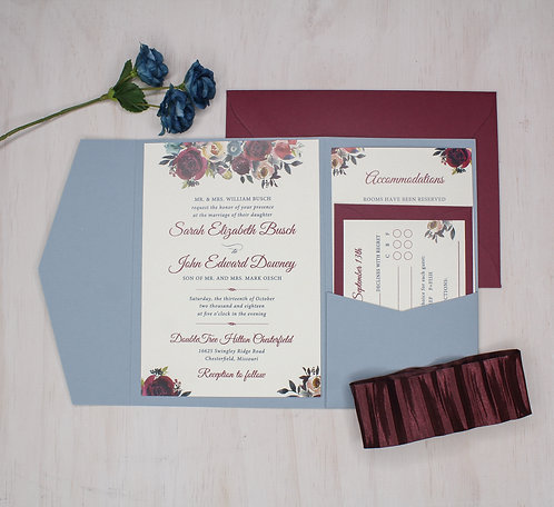 Elegant Floral Invitation with Pocket
