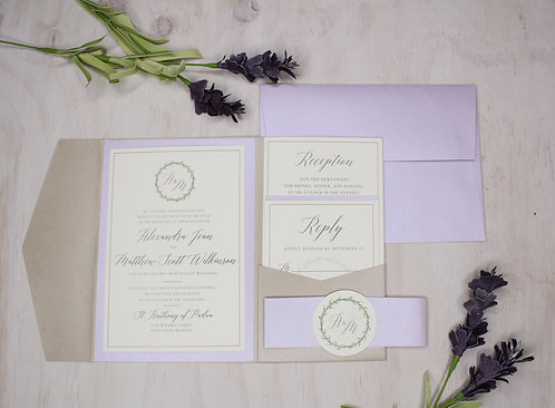 Lavender Greenery Invitation with Layer and Pocket
