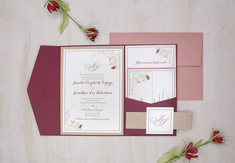 Floral Greenery Invitation with Rose Gold Glitter Layer and Pocket