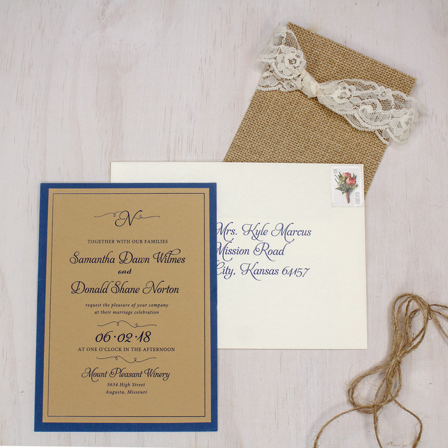 rustic lace romantic invitation
