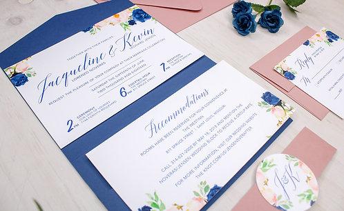 Horizontal Floral Invitation with Pocket