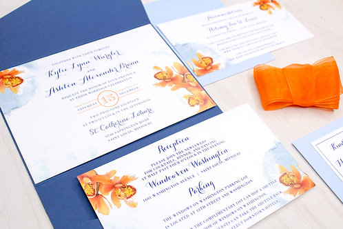 Orchid Invitation with Pocket