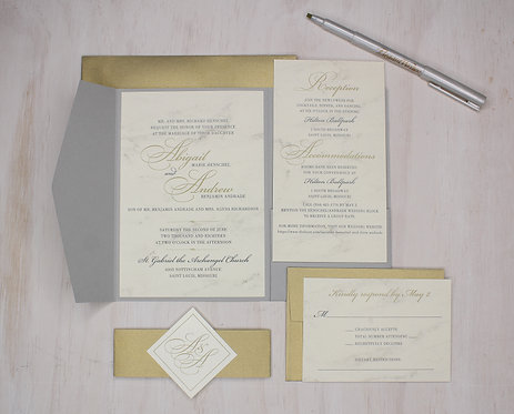 Modern Marble Invitation with Pocket