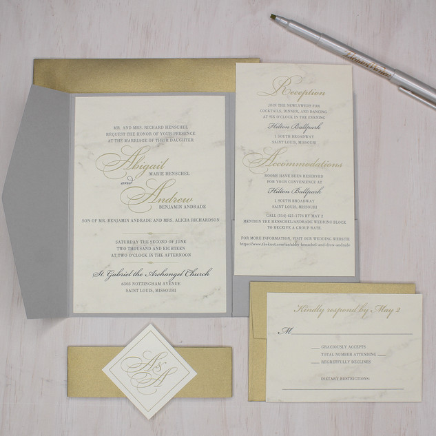 modern marble gold shimmer gray pocket invitation