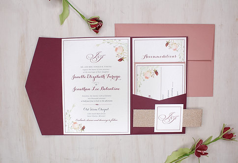 Floral Greenery Invitation with Pocket