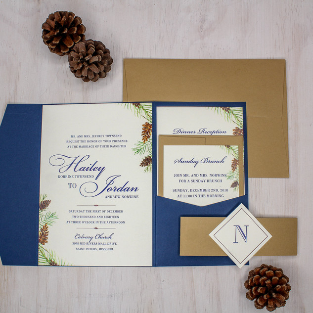 seasonal kraft and navy pocket invitation