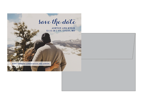 One Sided Save the Date with Envelope