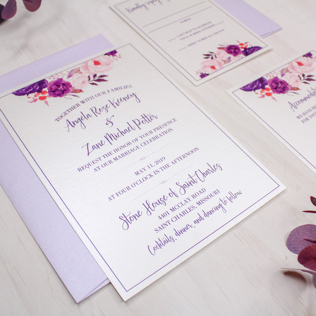lavender floral invitation