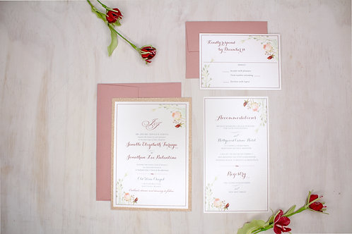 Floral Greenery Invitation with Rose Gold Glitter Layer