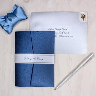 blue and silver shimmer pocket invitation