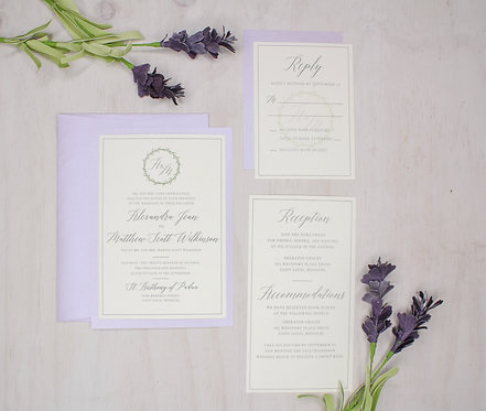 Lavender Greenery Invitation with Layer