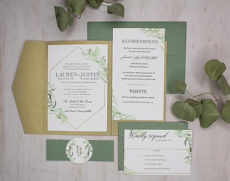 Textured Greenery Invitation with Pocket