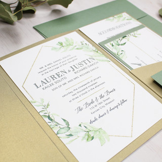 gold shimmer greenery pocket invitation