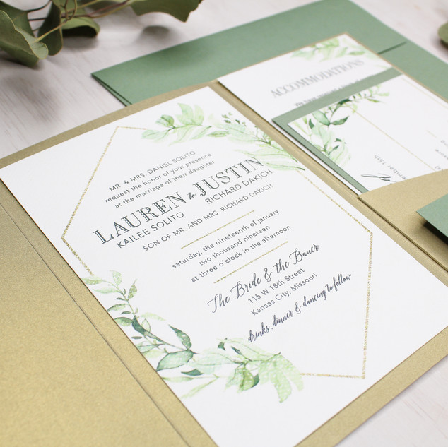 gold shimmer greenery pocket invitation