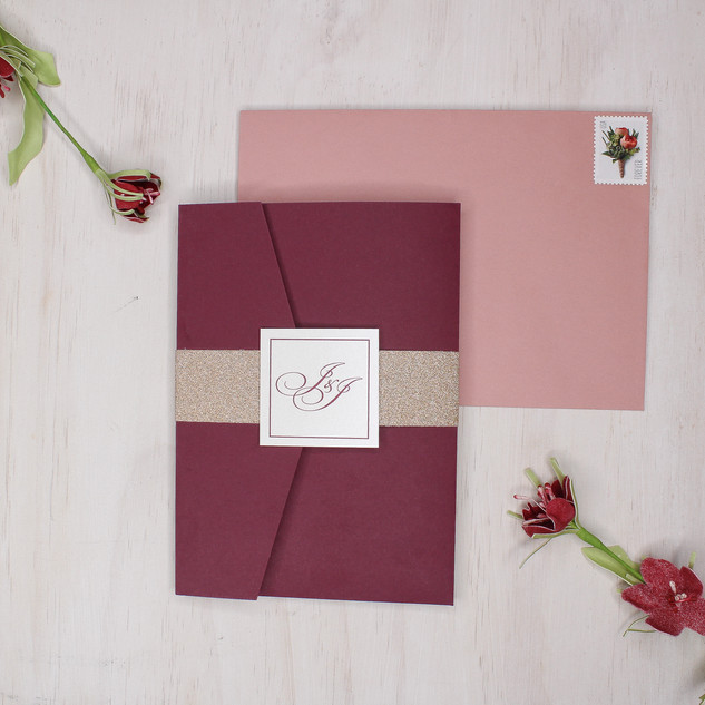 rose gold burgundy pocket invitation