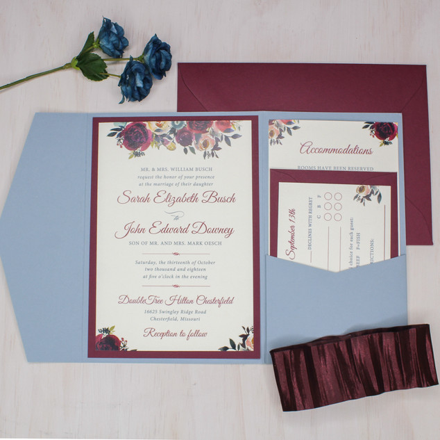 burgundy floral dusty blue pocket invitation