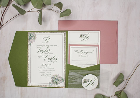 Romantic Greenery Invitation with Layer and Pocket