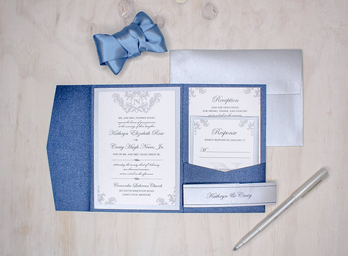 Classic Filigree Invitation with Layer and Pocket