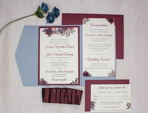 Elegant Floral Invitation with Pocket and Layer