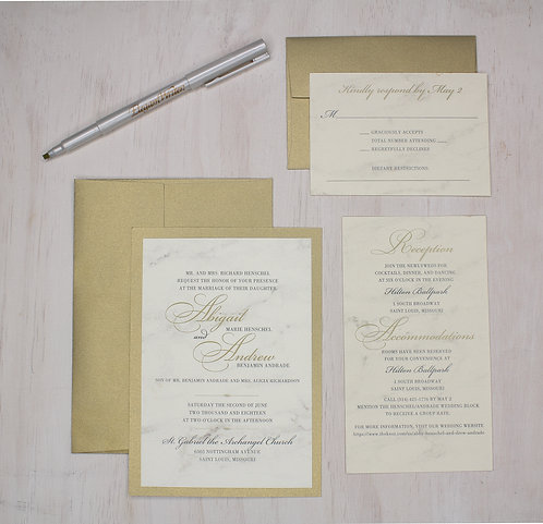Modern Marble Invitation with Layer