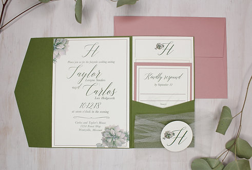 Romantic Greenery Invitation with Pocket